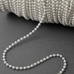 4mm White Faux Round Pearlized Beads on a string, Pearl Chain Trim, 30 Yards, SP-2258